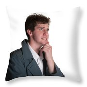 Young Man In Trench Coat Throw Pillow