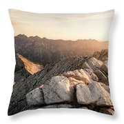 Young Man Scrambles To The Summit Throw Pillow
