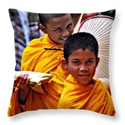 Young Monks Throw Pillow