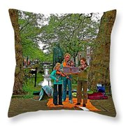 Young Musicians On Orange Day By A Canal In Enkhuizen-netherland Throw Pillow