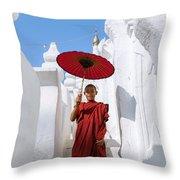 Young Novice Monk Walking On White Pagoda - Myanmar Throw Pillow