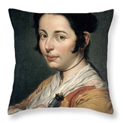 Young Peasant Woman Holding A Wine Flask Throw Pillow