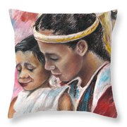 Young Polynesian Mama With Child Throw Pillow