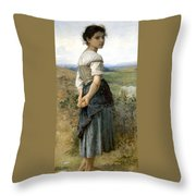Young Shepherdess Throw Pillow
