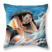 Young Tahitian Mermaid Throw Pillow