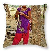 Young Tharu Village Woman In Traditional Nepali Clothing-nepal  Throw Pillow