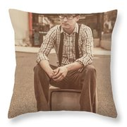 Young Vintage Man Seated On Old Tv Throw Pillow