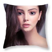Young Woman Anime Style Beauty Portrait With Beautiful Large Gra Throw Pillow