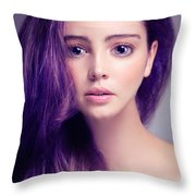 Young Woman Anime Style Beauty Portrait With Large Eyes And Purp Throw Pillow