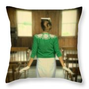 Young Woman Balancing A Book On Her Head Throw Pillow