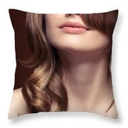 Young Woman Closeup Of Mouth And Neck Throw Pillow