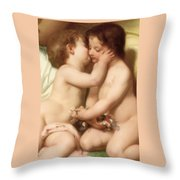Young Woman Contemplating Two Embracing Children Detail II Throw Pillow by William Bouguereau