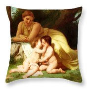 Young Woman Contemplating Two Embracing Children Throw Pillow
