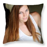 Young Woman Hallway Throw Pillow