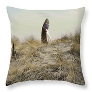 Young Woman In Cloak On A Hill Throw Pillow