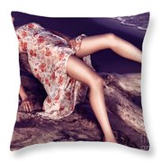 Young Woman In Dress Lying On Driftwood On A Shore Throw Pillow