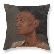 Young Woman With An Afro Throw Pillow