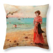 Young Woman With Red Umbrella Throw Pillow