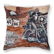 Young's Corral In Holbrook Az On Route 66 - The Mother Road Throw Pillow