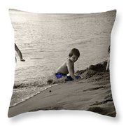 Youth At The Beach Throw Pillow