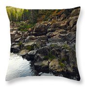 Yuba River Rocks Throw Pillow
