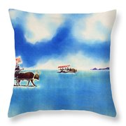 Yubu Island-water Buffalo Taxi  Throw Pillow