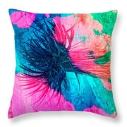 Yucca Abstract Pink Blue Green Throw Pillow