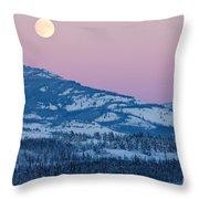 Yukon Canada Winter Landscape And Full Moon Rising Throw Pillow