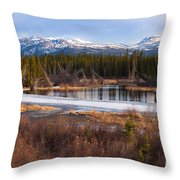 Yukon Taiga Wetland Marsh Spring Thaw Canada Throw Pillow