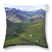 Yurts In The Tash Rabat Valley Of Kyrgyzstan  Throw Pillow