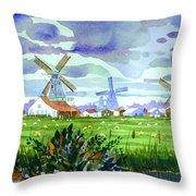 Zaanse Schans Windmills Throw Pillow