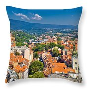 Zagreb Capital Of Croatia Aerial View Throw Pillow