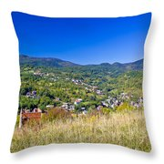 Zagreb Hillside Green Zone Nature Throw Pillow