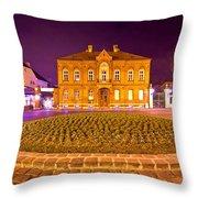 Zagreb Street Architecture Night Scene Throw Pillow