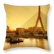 Zakim Bridge Sunset Throw Pillow