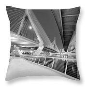 Zakim Bridge Twilight In Boston Bw Throw Pillow