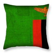 Zambia Flag Distressed Vintage Finish Throw Pillow