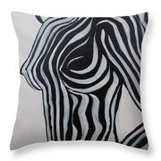 Zebra Body Paint Throw Pillow