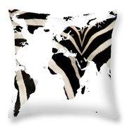 Zebra Fur World Map Throw Pillow