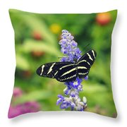 Zebra Longwing Throw Pillow by Laurie Perry