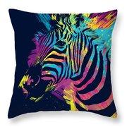 Zebra Splatters Throw Pillow by Olga Shvartsur