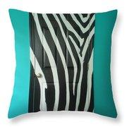 Zebra Stripe Mural - Door Number 1 Throw Pillow