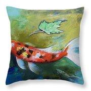 Zen Butterfly Koi Throw Pillow by Michael Creese