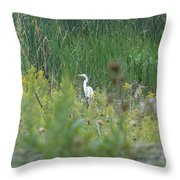 Zen Egret Throw Pillow