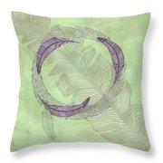 Zen Feather Circle I V Throw Pillow