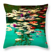 Zen Garden Water Lilies Pond Serenity And Beauty Lily Pads At The Lake Waterscene Art Carole Spandau Throw Pillow