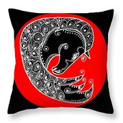 Zen Horse Black Throw Pillow