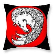 Zen Horse White Throw Pillow