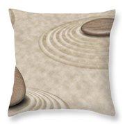 Zen Stones On Sand Garden Circles 2 Throw Pillow