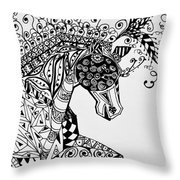 Zentangle Circus Horse Throw Pillow